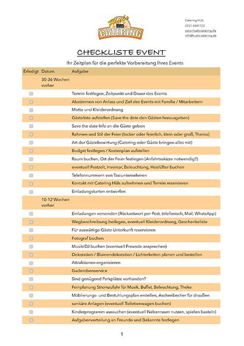 Checkliste Event