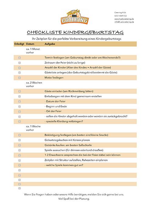 Checkliste Kindergeburtstag