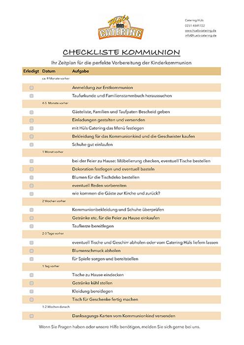 Checkliste Kommunion