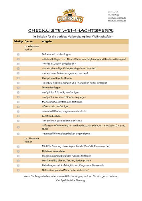 Checkliste Weihnachtsfeier